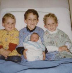 Adam, Jordan, Trevor and baby Emily